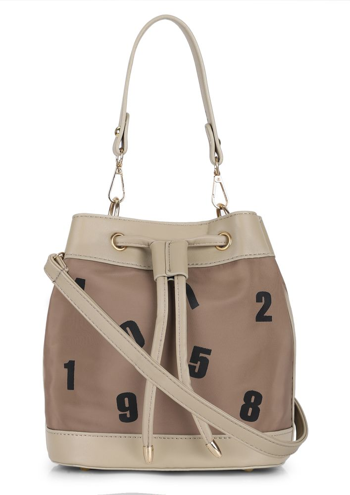 9 AM-TO-9 PM BROWN BUCKET BAG