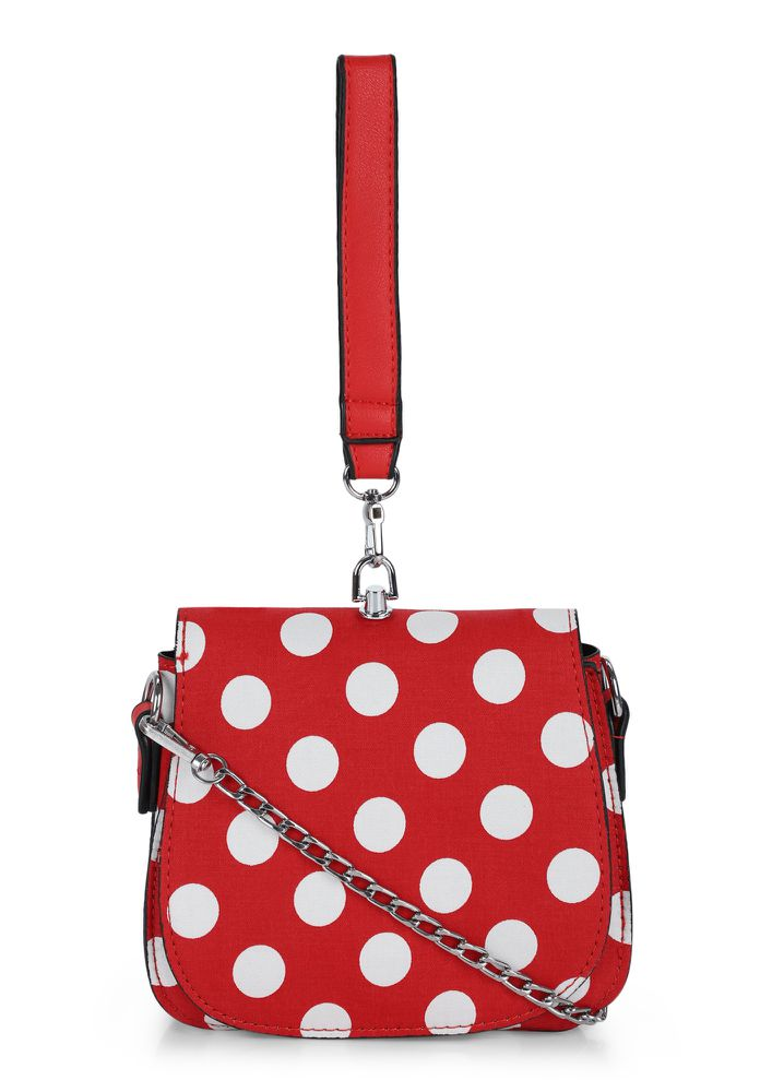 PERFECTLY SPOTTED RED SLING BAG