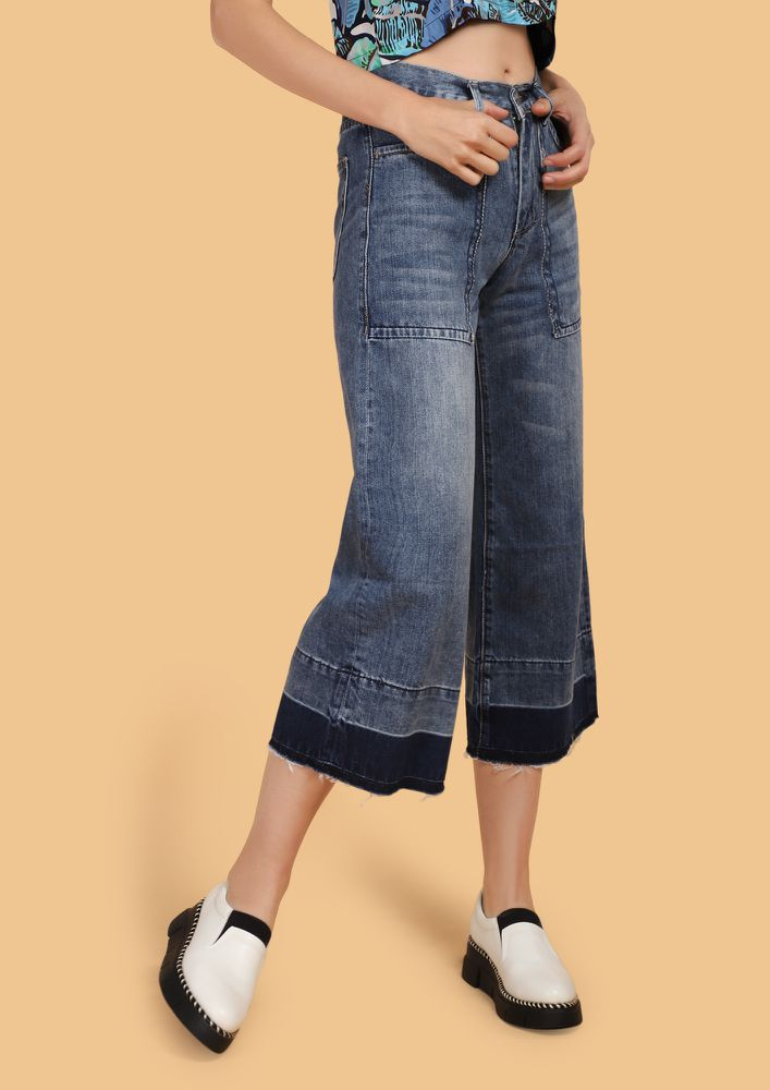 BACK TO THE RELAXED MODE BLUE DENIM CULOTTES
