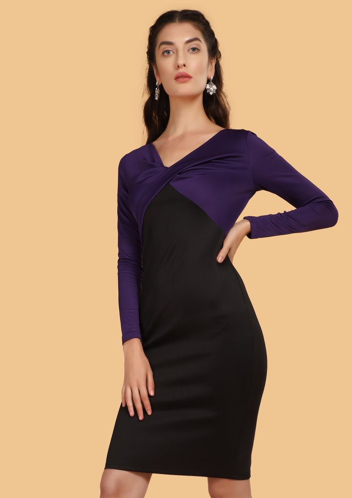 ONE WITH THE TWIST PURPLE BODYCON DRESS
