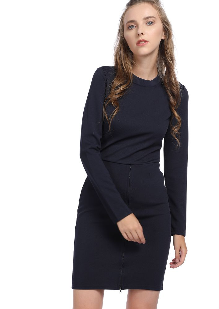 MAKE IT CHICER NAVY BODYCON DRESS