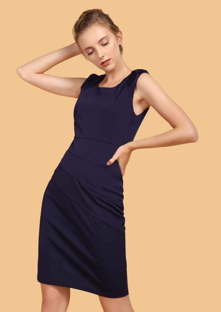 IN THE NEW CITY NAVY BODYCON DRESS