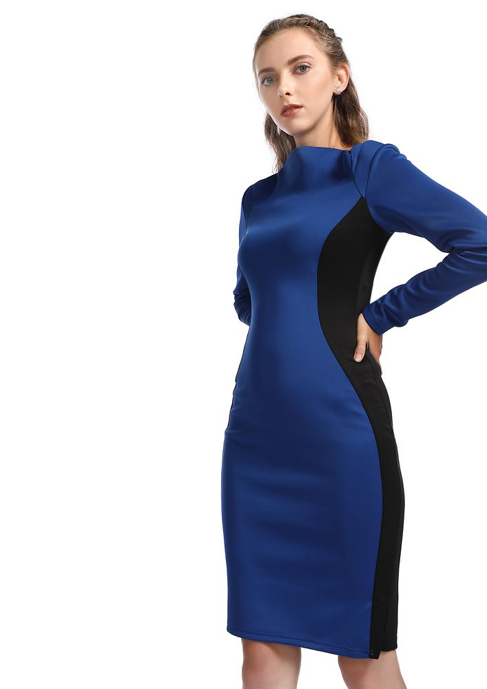 ON-DUTY CHIC BLUE PENCIL DRESS