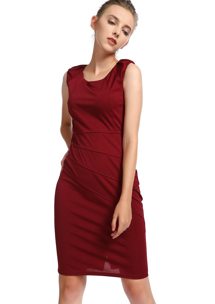 IN THE NEW CITY MAROON BODYCON DRESS
