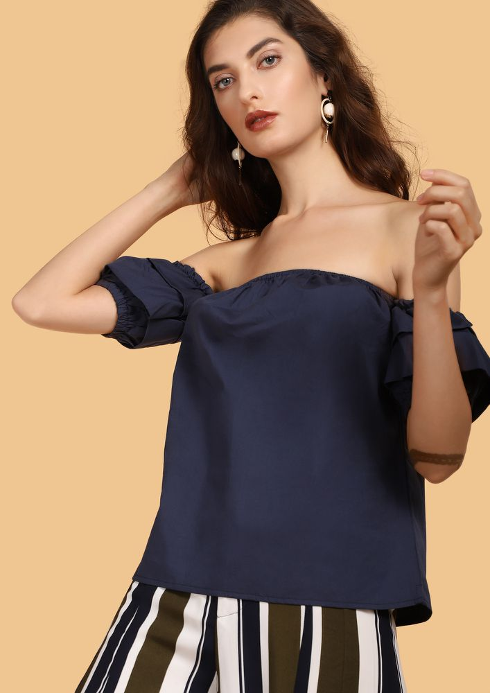SUN KISSED NAVY OFF-SHOULDER TOP