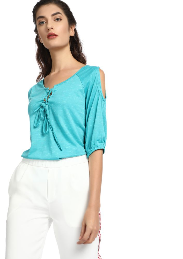 HAPPILY EVER AFTER TURQUOISE BLUE COLD-SHOULDER TOP