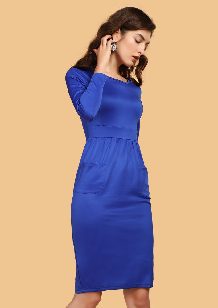 MIXED FEELINGS BLUE MIDI DRESS