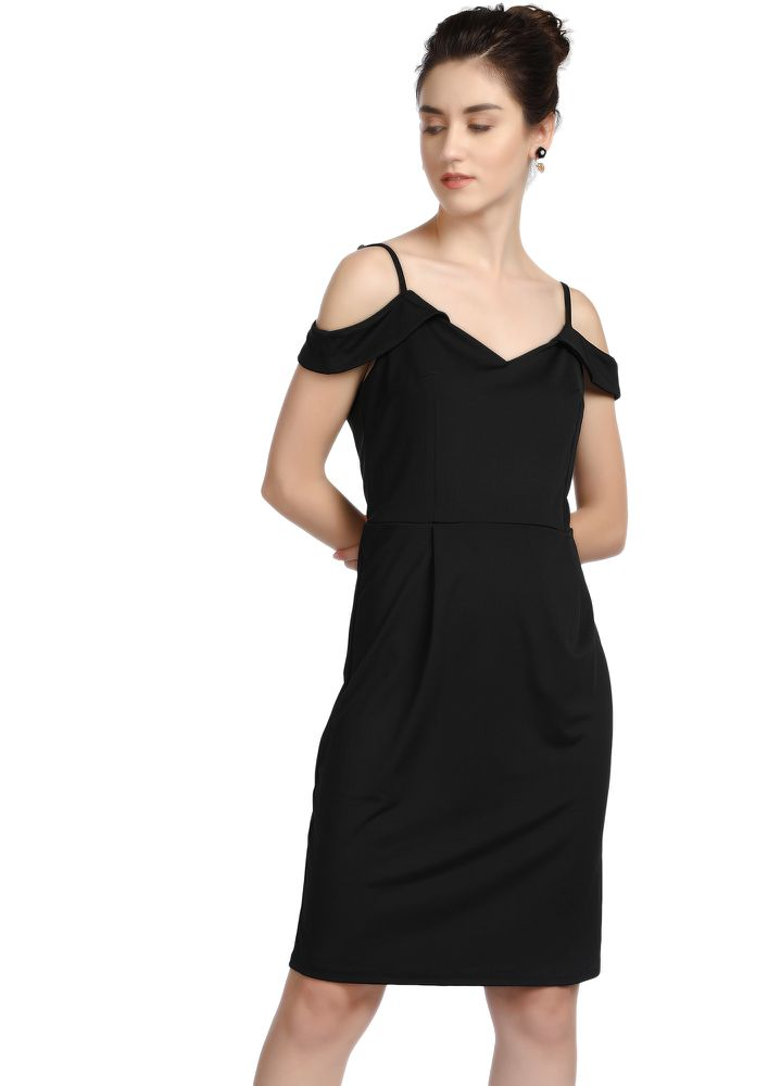 SLIPPING INTO YOUR DREAMS BLACK MIDI DRESS