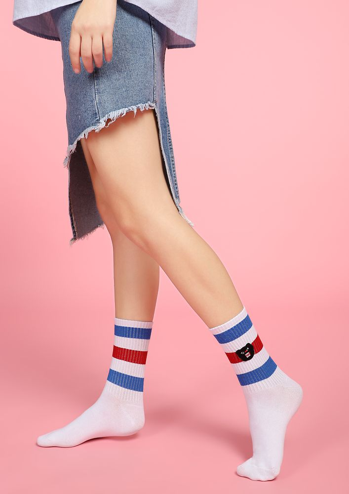NOT AFRAID OF THE MONSTERS NAVY STRIPED SOCKS