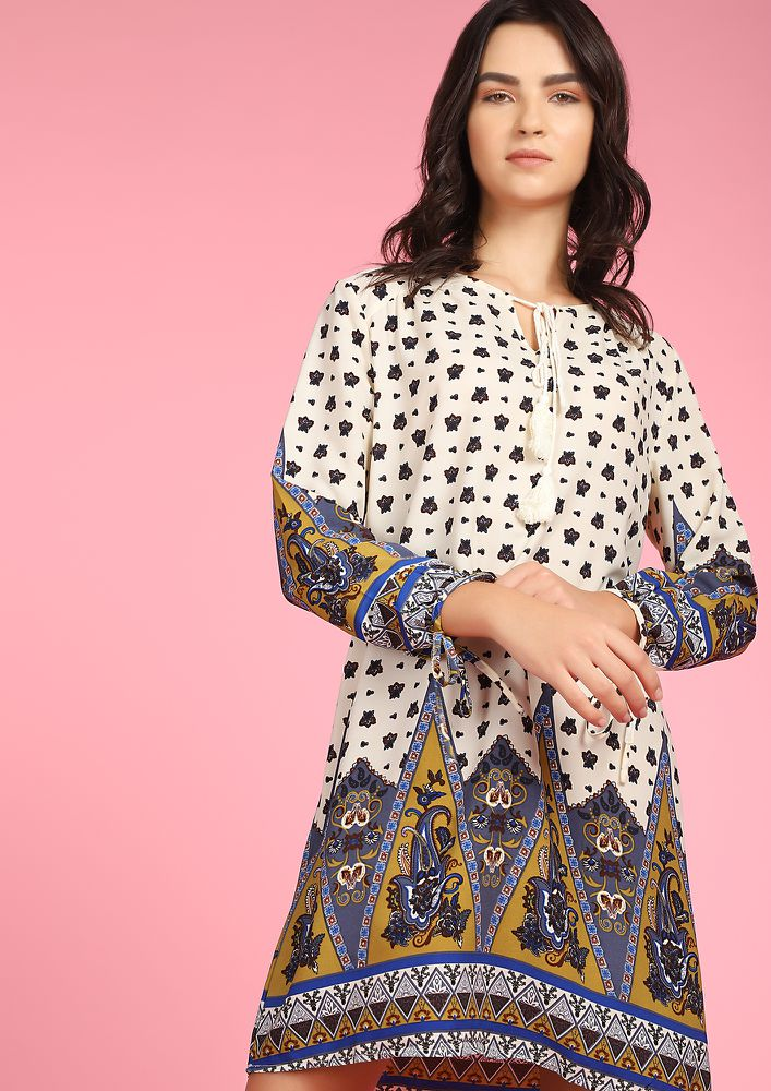 KIND OF A PAISLEY MULTICOLOR SHIFT DRESS