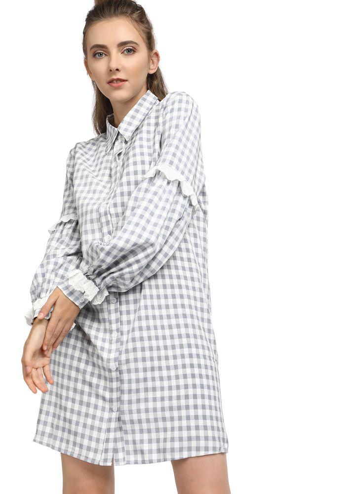 BUTTON OR NOTHING GREY SHIRT DRESS