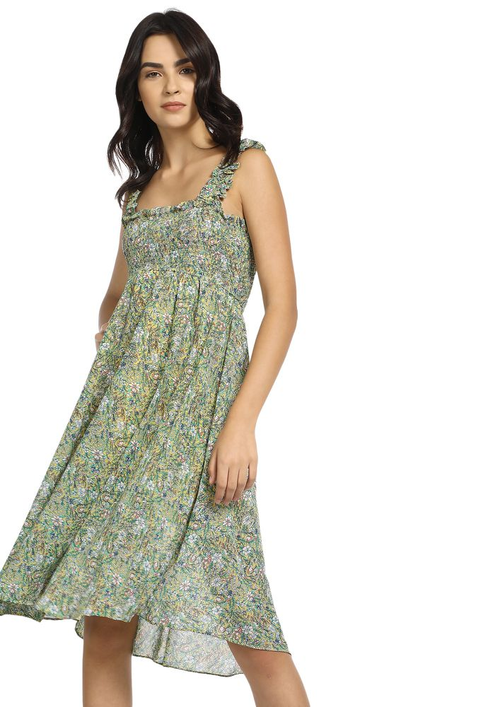 Driven By The Flower Power Green Midi Dress