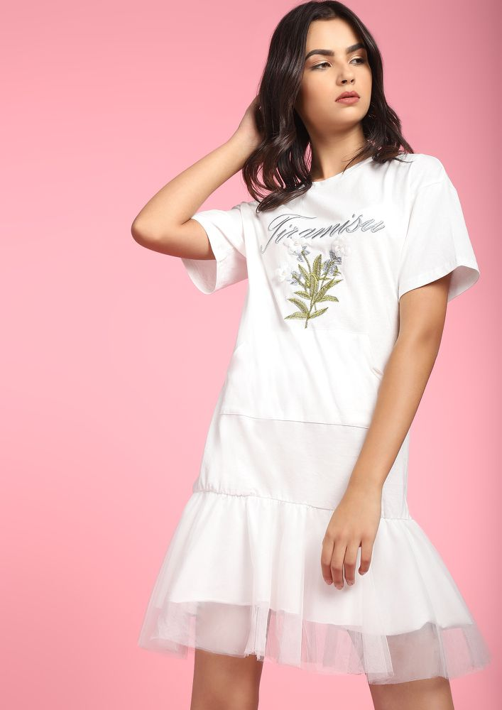 FULL OF SWEETNESS WHITE SHIFT DRESS