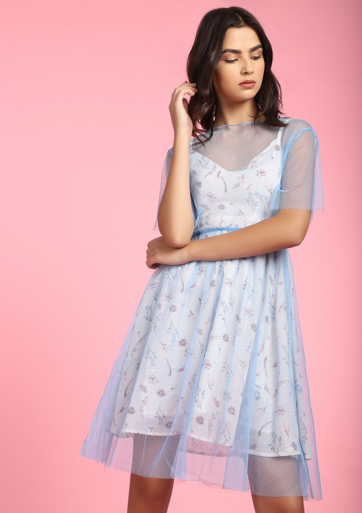 FEEL THAT SHEER JOY BLUE SKATER DRESS