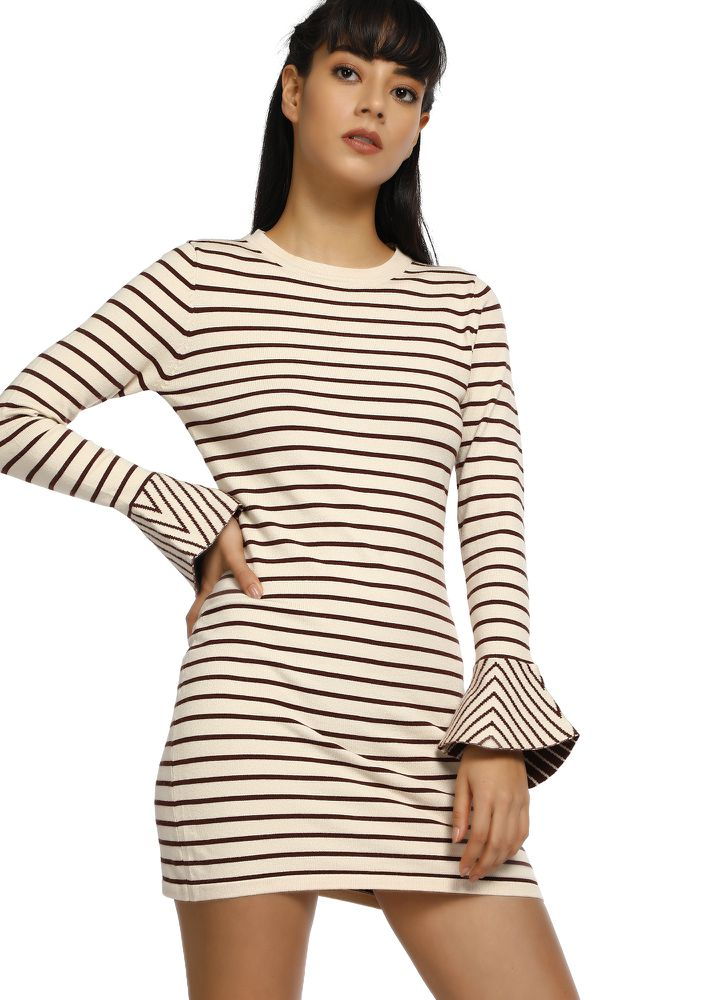 COLD DOESN'T BOTHER ME BROWN STRIPED LONGLINE JUMPER