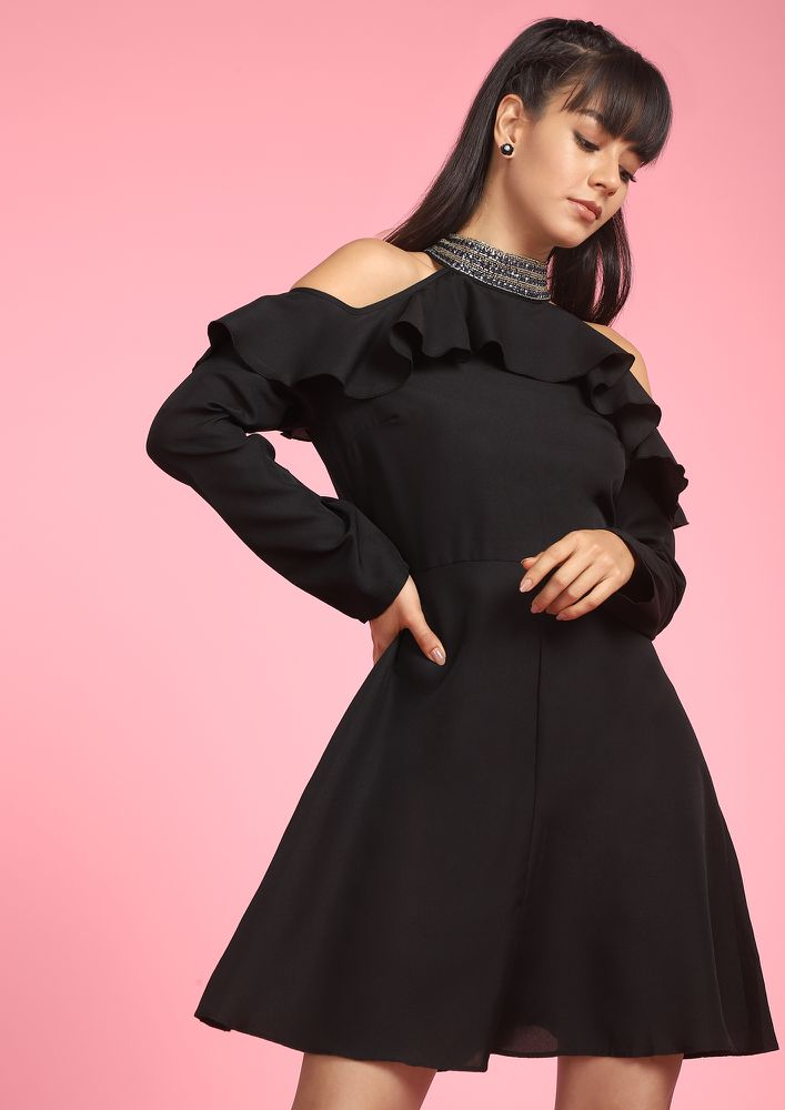 LET'S PARTY BLACK SKATER DRESS