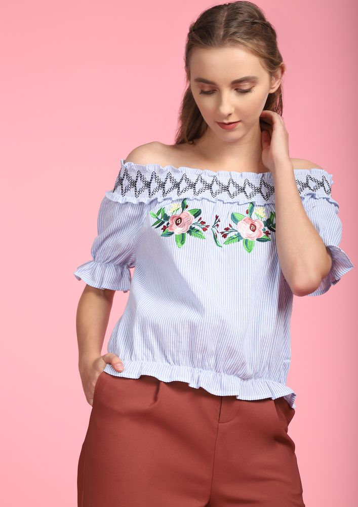 STRIPE THOUGH THE FLOWERS BLUE BARDOT TOP