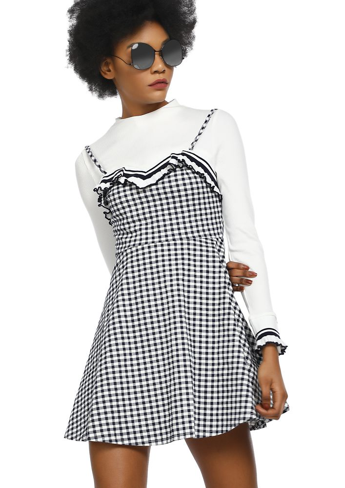 BLOCKING THE BAD VIBES BLACK WHITE PINAFORE DRESS