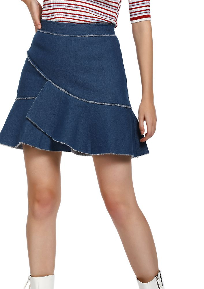 MORE RELAXED THAT WAY BLUE SKATER SKIRT