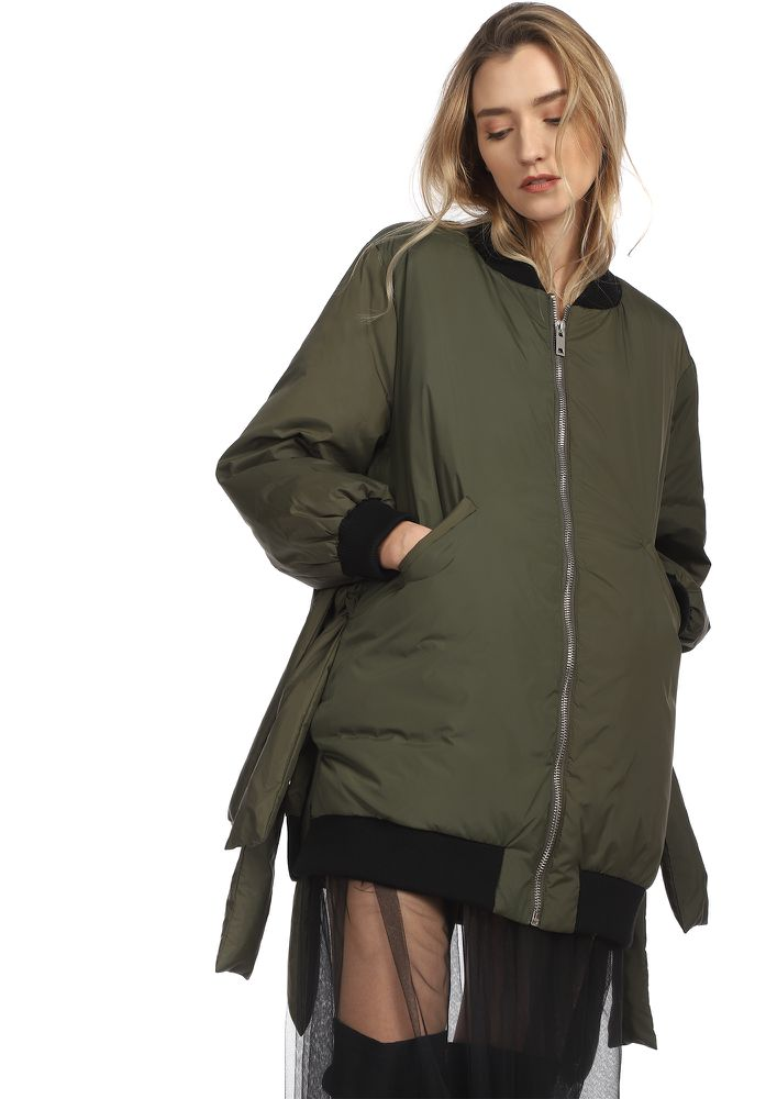 I LOVE OVERSIZED ARMY GREEN JACKET