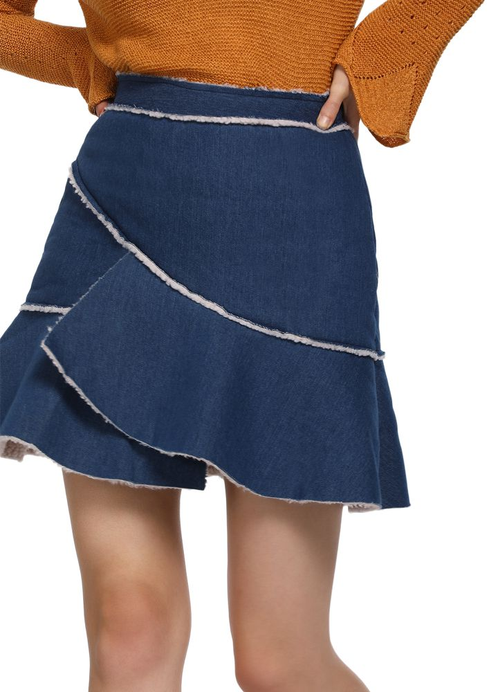 MORE RELAXED THAT WAY DARK BLUE SKATER SKIRT