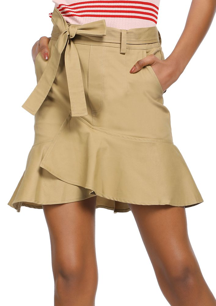 FOR THE UPTOWN GIRLS KHAKI MINI SKIRT