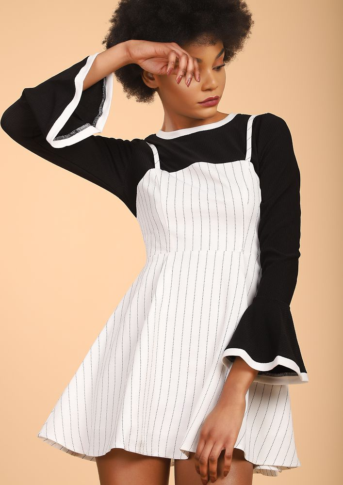 STANDING ON A LINE WHITE PINAFORE DRESS