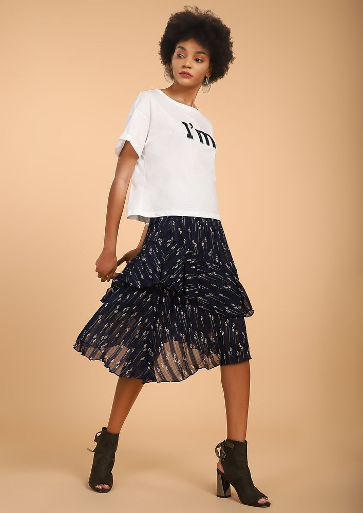 FIELD IS ON MY WAY BLUE MIDI SKIRT
