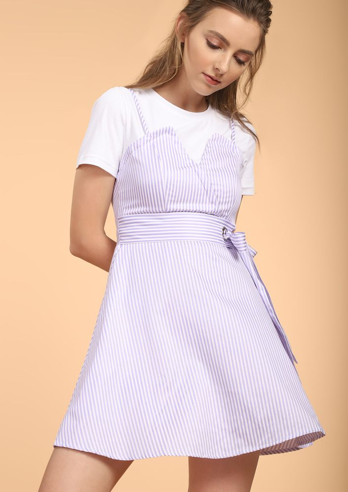 PLAYFUL VIBES ALL DAY MAUVE SKATER DRESS