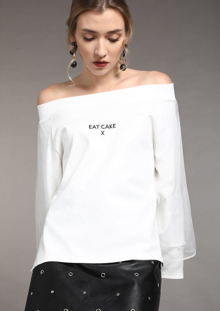 FORGET WORRIES AND EAT CAKES WHITE OFF-SHOULDER TOP