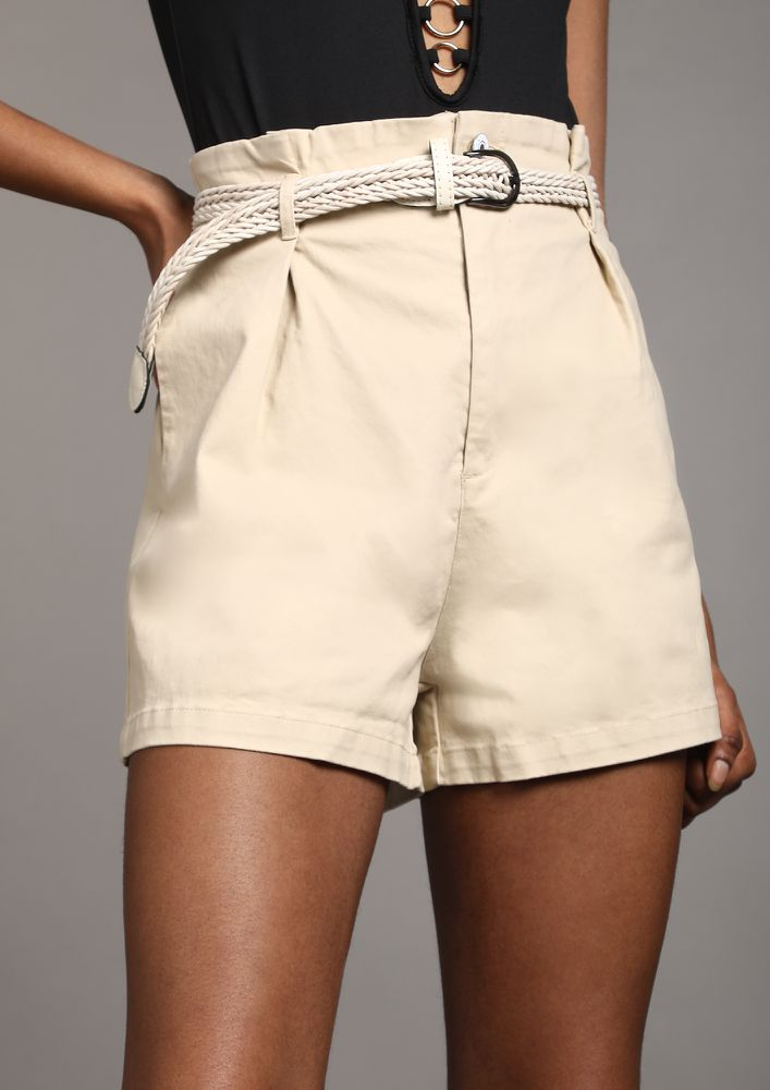 ROLE PLAY BEIGE PAPERBAG-WAIST SHORTS
