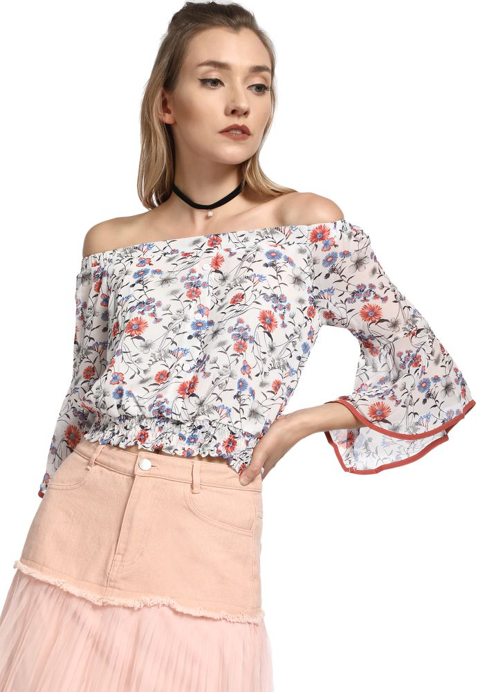 FLORAL BOUQUET WHITE OFF-SHOULDER TOP