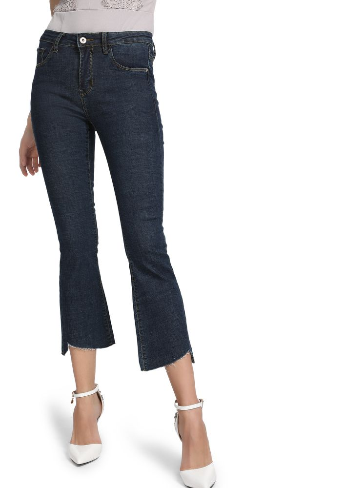 Stick To Your Raw Side Blue Cropped Jeans