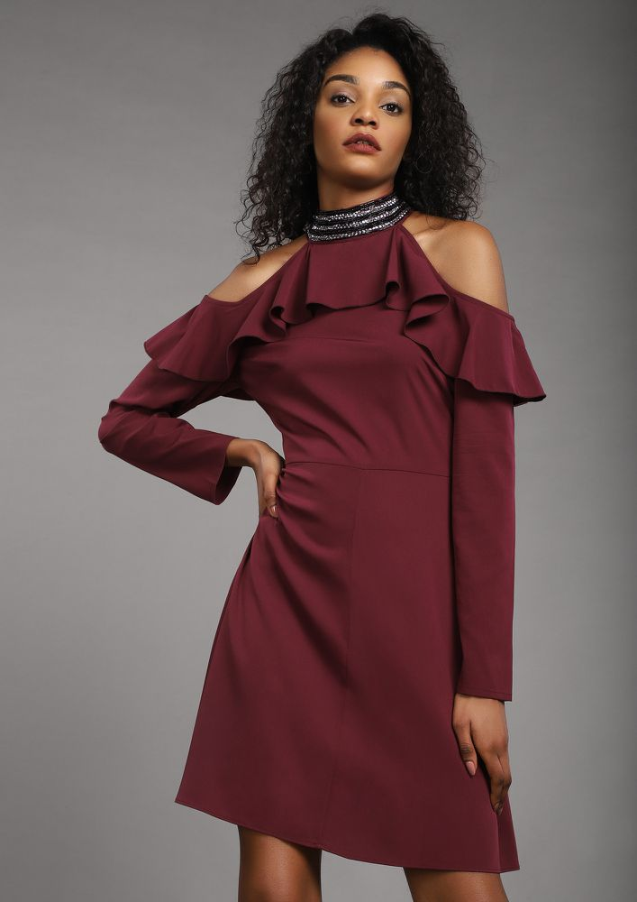JUST A SHORT HALTER BURGUNDY SHIFT DRESS