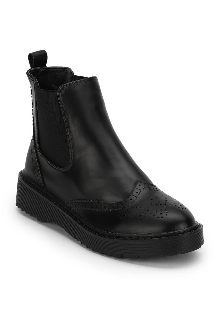 ALWAYS IN TIME BLACK ANKLE BOOTS