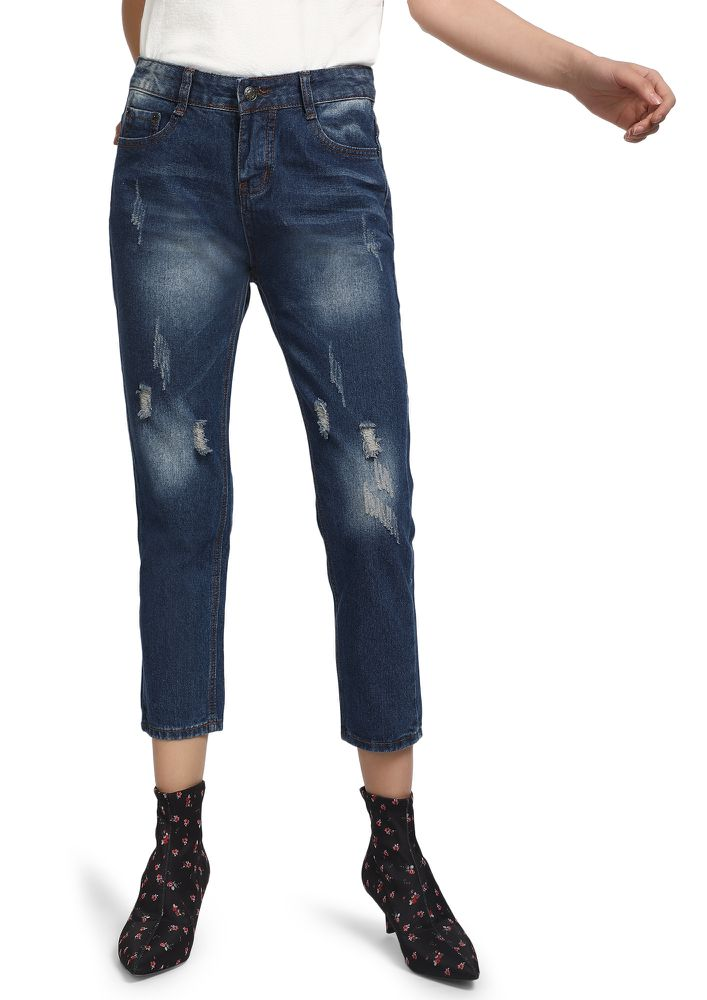 COZY SUNLIGHT  BLUE CROPPED JEANS