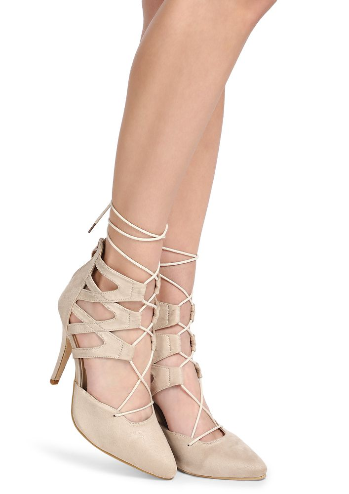 ALL ABOUT YOU BEIGE HEELED PUMPS