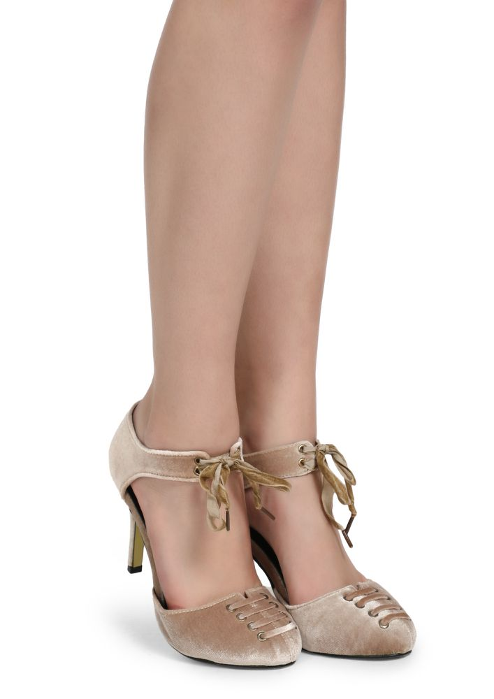UP FOR WINE TASTING BEIGE HEELED SHOES