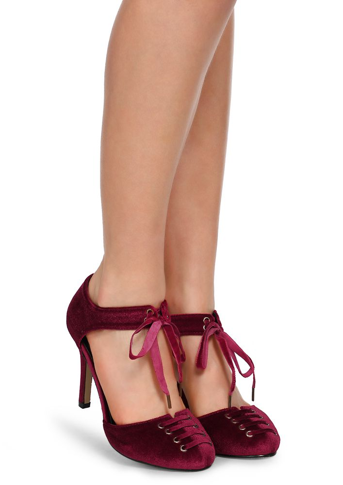 UP FOR WINE TASTING BURGUNDY HEELED SHOES
