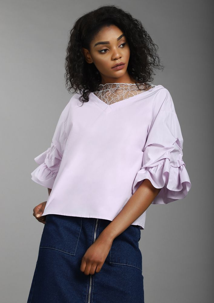 UP ON MY SLEEVES MAUVE TOP