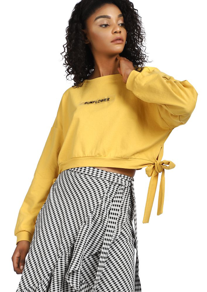 SUNFLOWER AND KISSES YELLOW CROP PULLOVER