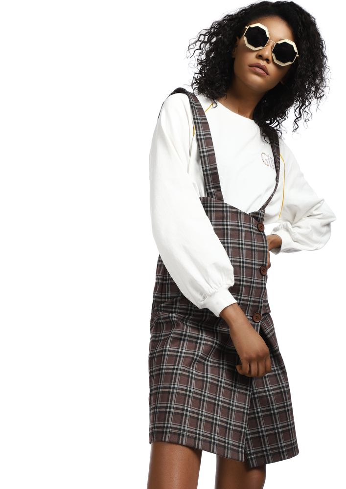 EARN THOSE CHECKS BROWN PINAFORE SKIRT