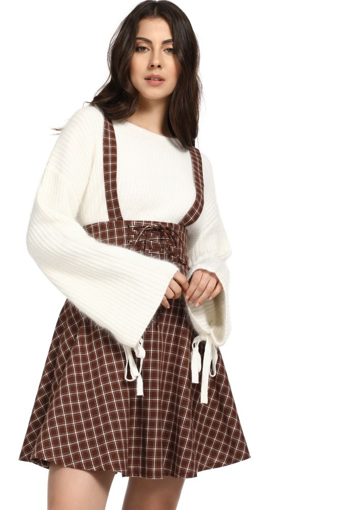 SPREADING MY SCHOOL-GIRL CHARM BROWN PINAFORE SKIRT