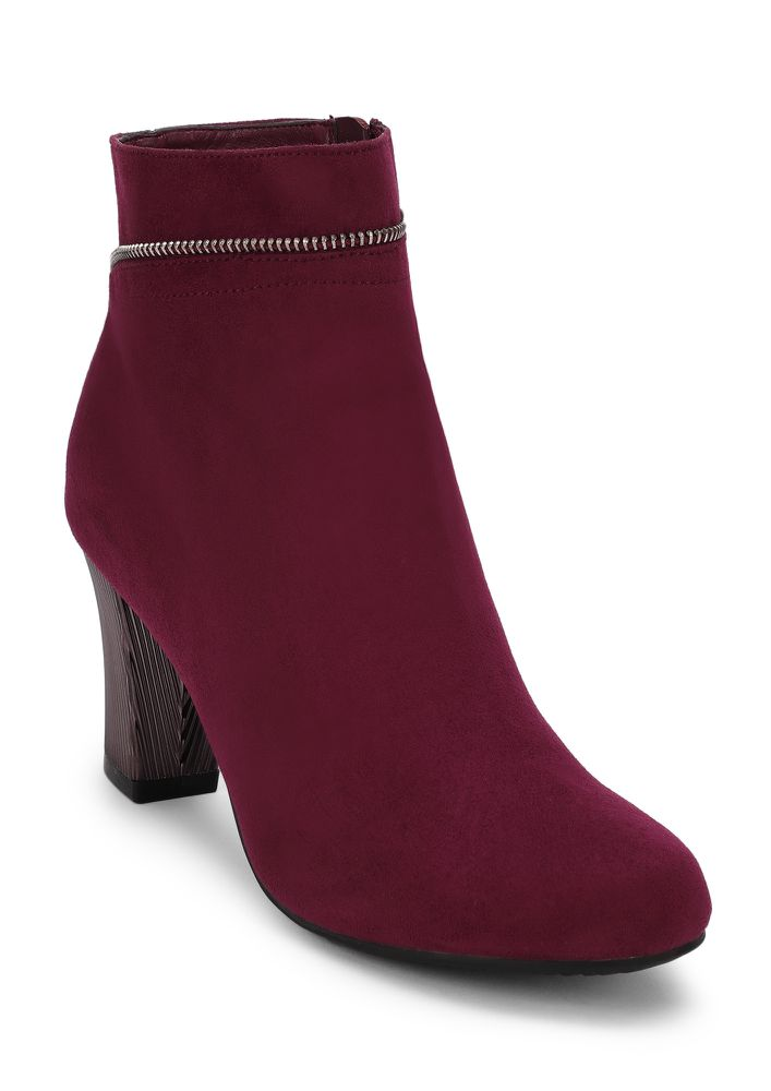 THE ONE TO CHAIN WINE ANKLE BOOTS