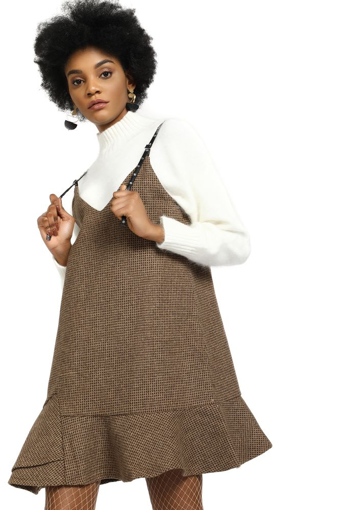 ALWAYS IN A RUSH BROWN PINAFORE DRESS