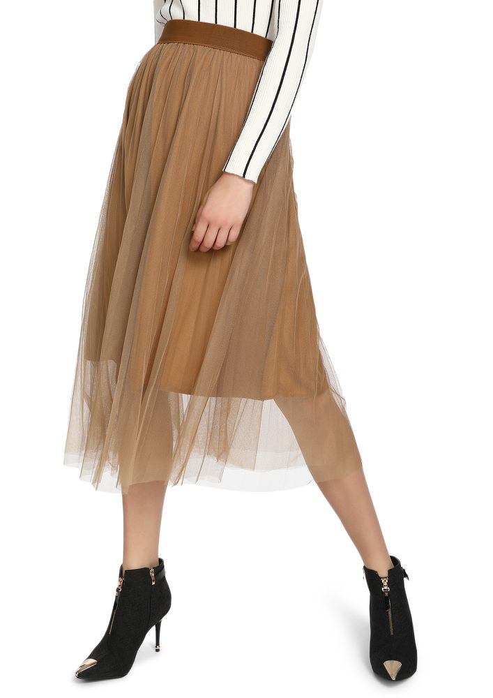 FRIDAY NIGHTS BEIGE MIDI SKIRT