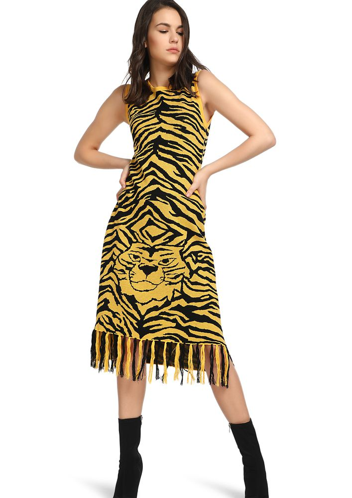 QUEEN OF THE JUNGLE YELLOW MIDI DRESS