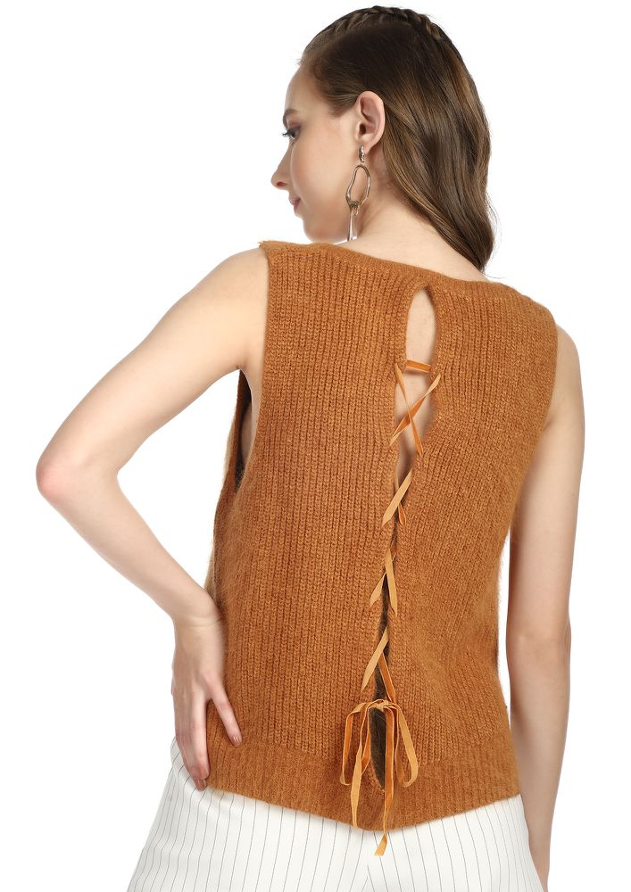 PLAY IT COOL BROWN VEST TOP