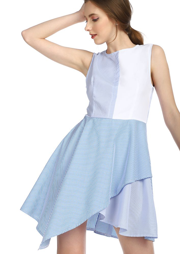 A FEW LINES AWAY BLUE ASYMMETRICAL DRESS