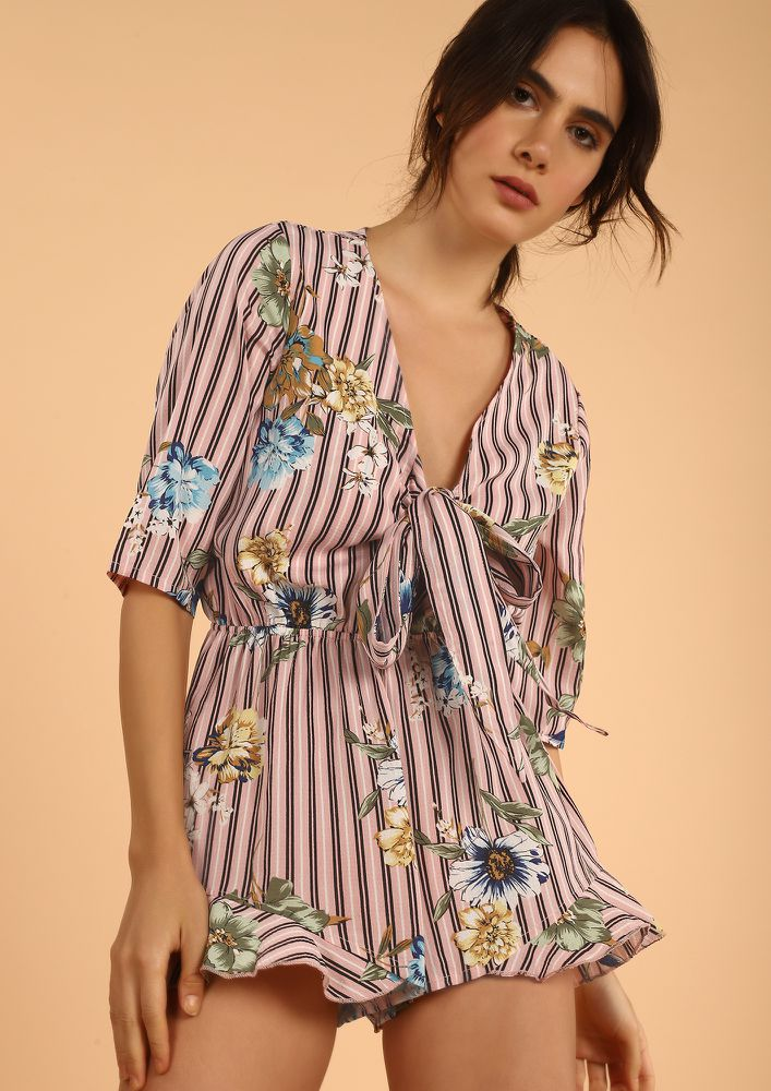 STRIPING ALONG THE FLOWERS PINK ROMPER